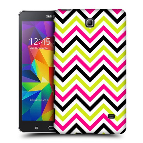 Head Case Designs Pink And Lime Neon Chevron Protective Snap-on Hard Back Case Cover for Samsung Galaxy Tab 4 7.0 T230 T231 T235