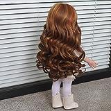 MonkeyJack 32CM Full Head Middle Parting Wavy Heat Resistant Curly Hair Wig for 18'' American Girl Doll DIY Making & Repair Brown