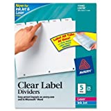 Wholesale CASE of 5 - Avery Prepunched Index Maker Dividers w/ Tabs-Index Maker, Laser, Punched, 5-Tabs, 25 ST/BX, White