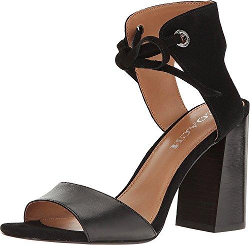 Entrenador Mujeres Madison Leather Open Toe Sandalias De Correa De Tobillo Casual Negro / Negro
