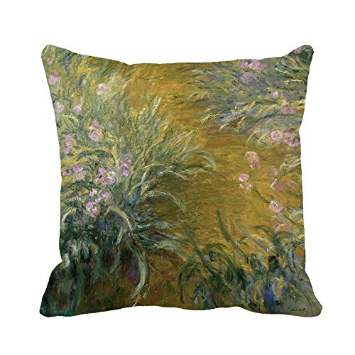 Awowee Throw Pillow Cover The Path Through Irises by Claude Monet 1914_17 French 16x16 Inches Pillowcase Home Decorative Square Pillow Case Cushion Cover ()