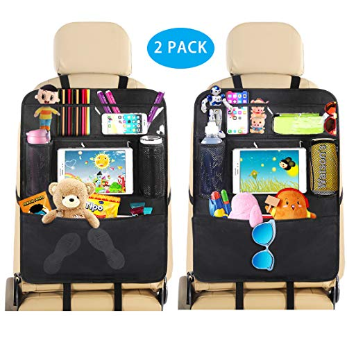 Car Backseat Organizer Seat Back Protectors Kids Kick Mat with Touch Screen Tablet Holder+ 6 Storage Pockets Hanging Storage Bag for Bottles, Books, Phones and iPad Tablet(2 Pack)
