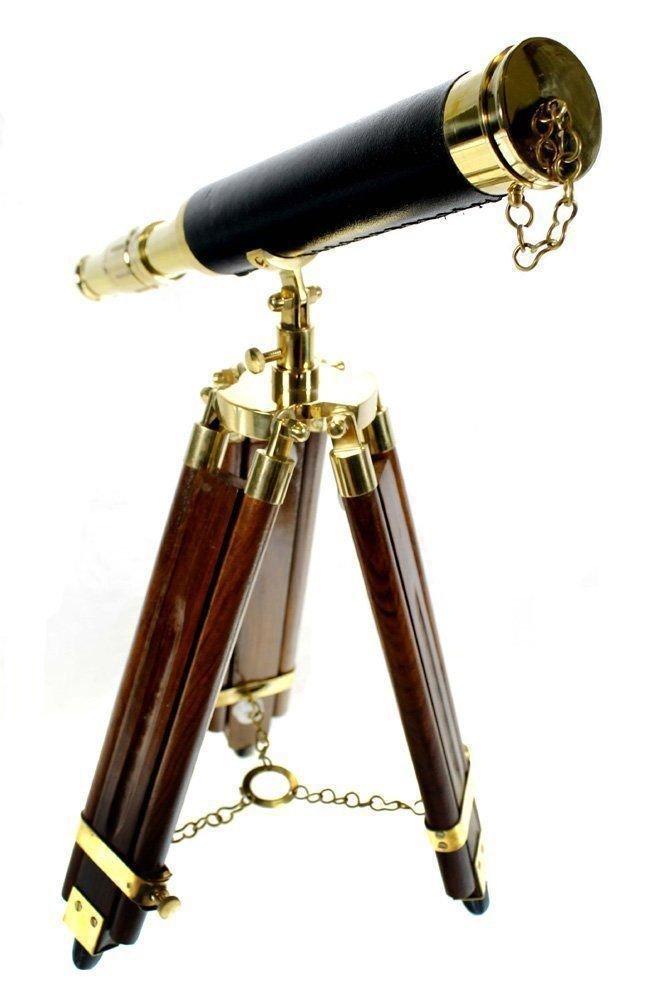 Expressions Enterprises Nautical Brass Telescope Vintage Leather Stitched Desk Spyglass Decorative