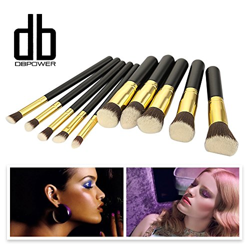 Synthétique Premium maquillage Kabuki Kit de pinceau de maquillage Brush Set Cosmétique Fondation Blending Blush Eyeliner Poudre pour le visage Brosse (10pcs, Noir Doré)