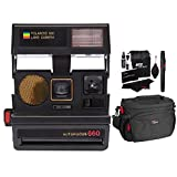 Impossible Polaroid 600 Sun 660 AF Camera, Black (1376), Ritz Gear Deluxe Premium DSLR Camera Bag and Ritz Gear Cleaning Kit (Certified Refurbished)