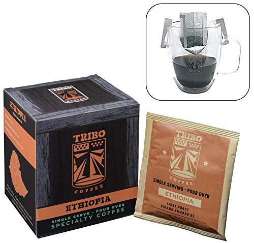 Tribo Coffee Single-Serve Portable Pour Over Drip Coffee - Specialty Grade - Ethiopia Sidamo G1 - 10 Servings Per Box (Light Roast)