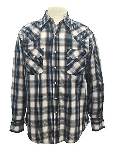 (Ely Cattleman Men's Polycotton Long Sleeves Western Cowboy Plaid Shirt -)