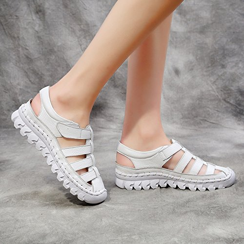KPHY Sommer Sandalen Frauen Freien Flachen Boden Im Freien Frauen Baotou Sport Freizeit Sandalen. Weiß 4b2807