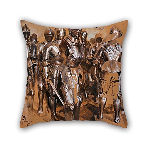 By 40 Cm Oil Painting Adolf Menzel - 'Armor Chamber Fantasy', 1866 Throw Cushion Covers Twice Sides Ornament And Gift To Kitchen Monther Couch Pub Study Room Car Seat (Repl Flag)