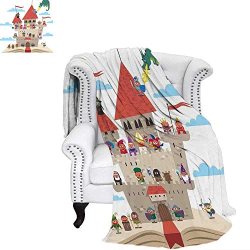 YOLIKA Kids Queen Size Warm Microfiber All Season Blanket Fairy Tale Story Book Castle King Queen Princess Dragon Witch Knight Wizard Vikings Theme Print Print Image Blanket 50