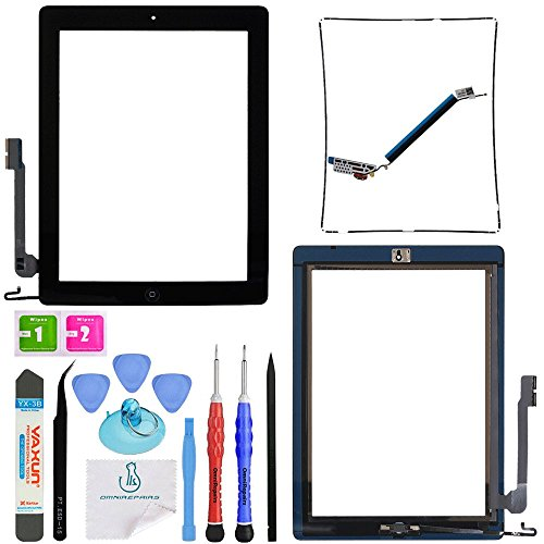 OmniRepairs-for iPad 4 (4th Generation) Glass Touch Screen Digitizer OEM Assembly Replacement with Home Button Flex, Adhesive Tape, Midframe Bezel, Screen Protector, and Repair Toolkit (iPad 4 Black)