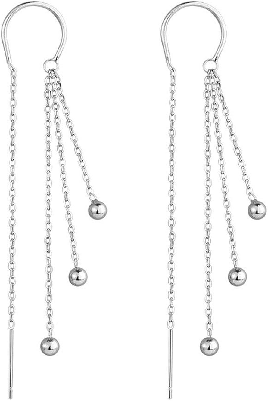 MEEOI Fashion Exageración Ear Stud Earrings Ear Hoop 925 de plata esterlina para mujer, pendientes de perlas con lazo vintage