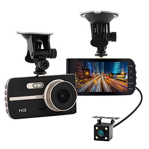 Yikoo 4'' IPS Screen FHD 1080P Front + Rear 290 Degree Angle Car Dash Cam with G-Sensor, Motion Detection, Parking Mode,Super Night Vision etc.]()