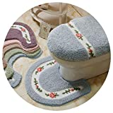 Toilet Seats 2Pcs/Set Winter Thicken Warmer Washable Toilet Set Bath Mat Toilet Seat
