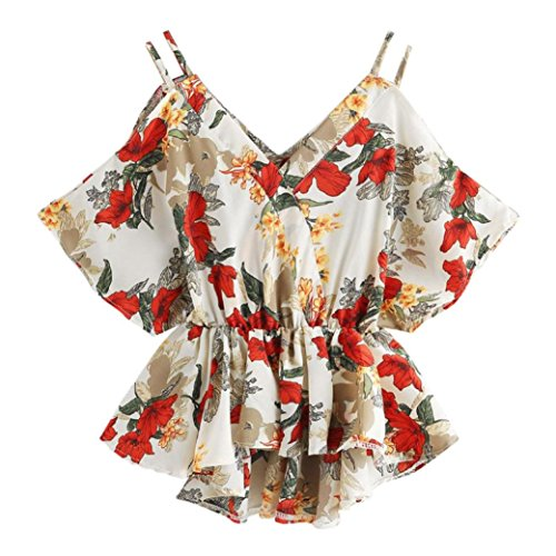 (iYYVV Women Lady Summer Floral Print Dip Hem Tops V Neck Blouse Short Sleeve T Shirt)