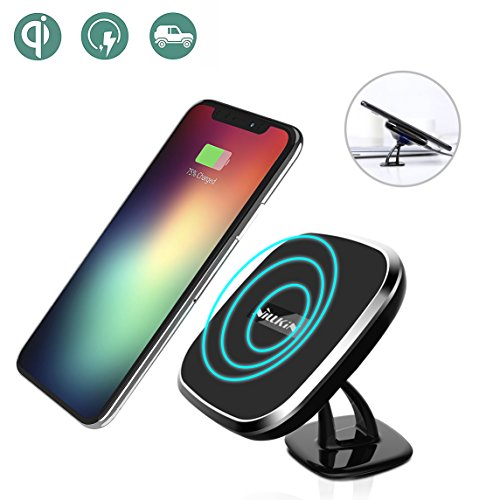 Wireless Car Charger, Nillkin [2nd Generation] 2-in-1 Qi Magnetic Wireless Car Mount Charging Pad for iPhone 8/8 Plus/iPhone X/ Galaxy Note 8/S8/S8 Plus All Qi-Enabled Devices - Black by Nillkin