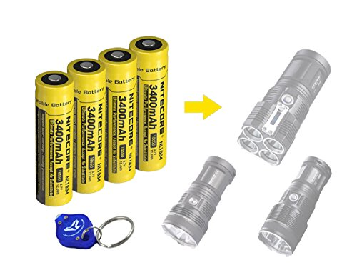 4 Pack Nitecore NL1834 (NL189) 3400 mAh Protected Rechargeable 18650 Batteries with Bright Lumentac Keychain Light- Designed for Nitecore TM11 TM15 TM26 MT2C MT25 MT26 P12 P16 P25 SRT5 SRT6 SRT7 etc by Nitecore