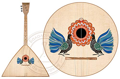 Russian traditional three-stringed Balalaika with a special decoration. The decor is based on historical examples of old peasant paintings .Balalayker. ()