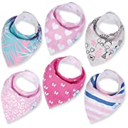 Baby Girl Bandana Drool Bibs - Set of 6 Cute Designs Extra-Soft Organic Cotton Bib for Delicate Skin, Perfect for Teething, Drooling, Breast Feeding, Burp & Spit-Up Messes, & Outfit Accessory