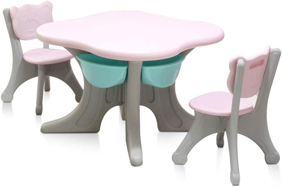 子ども用テーブル椅子セット あなたの子供のための幼児プレイ表/ベビー活動表パーフェクトなギフトの活動表子表と椅子 子供用テーブルチェアセット (色 : ピンク, サイズ : 70x70/50x32cm)