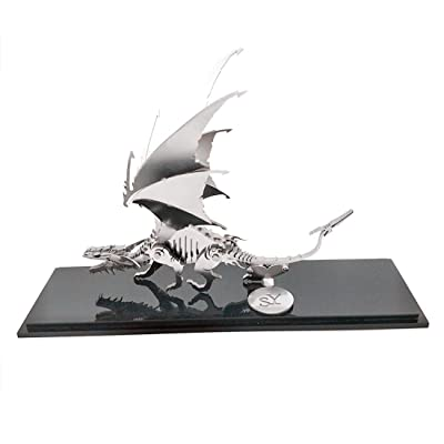 Haoun 3D Metal Puzzle for Kids and Adults, DIY Assembly Dinosaur Model Stainless Steel Model Kit Jigsaw Puzzle Brain Teaser Toy, Home Decoration Office Desk Ornament - Ice Dragon: Toys & Games