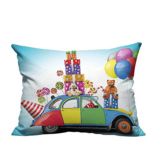 YouXianHome Zippered Pillow Covers Colorful Car with Presents Toys Holiday Lollipops Party Hat Balloons Decorative Couch(Double-Sided Printing) 20x35.5 inch