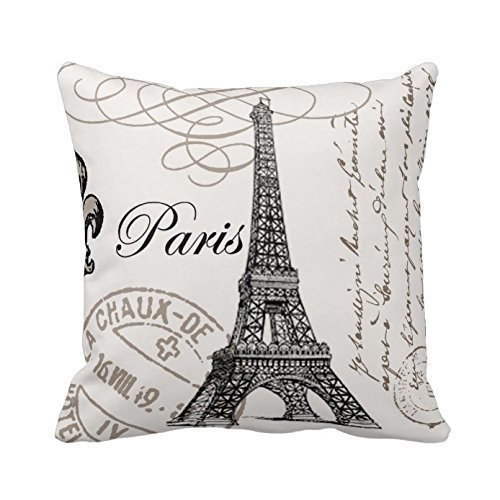 Paris Eiffel Tower Stamp Square Custom Throw Pillow Case Personalized Cushion Cover Pillowcase Pillow Cover 18x18
