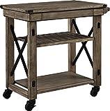 Ameriwood Home Wildwood Wood Veneer Multi-Purpose Rolling Cart, Rustic Gray