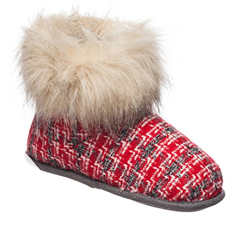 Cuff Woven Womens With Charcoal Bootie Fur Duds Plaid Red Faux Slippers Tweed Cuddl cKBZ6Ay6g