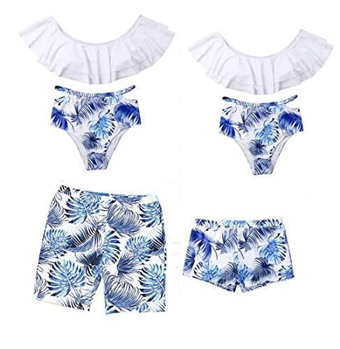 Mommy and Me Swimsuit Two Pieces Palm Leaf Print Family Matching Swimwear Bikini Set Mother Father Boys Girls Bathing Suit (Palm Leaf Swimsuit, Men L)