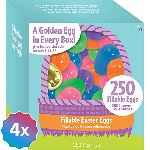 (Amscan 1000ct Multi-Colored Fillable Easter Eggs, Plastic, 6 Assorted Colors, 1 3/4