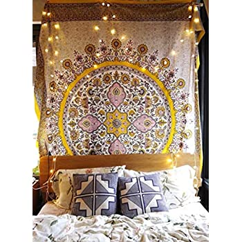 Sketched Floral Medallion Tapestry Gold Indian Headboard Wall Hanging Home Decor,60