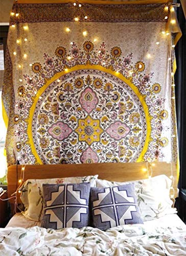 (Sketched Floral Medallion Tapestry Gold Indian Headboard Wall Hanging Home Decor,60