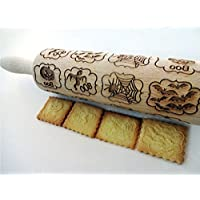 HALLOWEEN WINDOWS Embossing Rolling Pin Laser engraved rolling pin with HALLOWEEN WINDOWS Spider Bat Halloween pumpkin