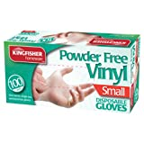 Marksman Powder Free Disposable Vinyl Gloves, Small - Pack of 100