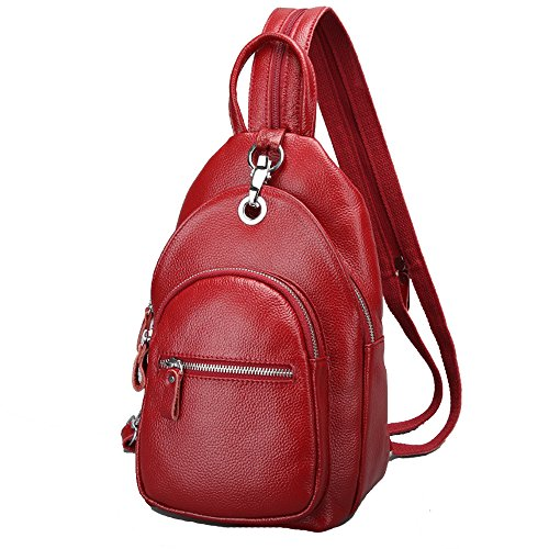 SEALINF Womens Leather Backpack Convertible Daypack Chest Shoulder Bag Sling Purse (wine red),7.1