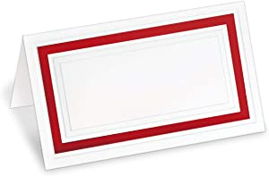 PaperDirect White 38lb Cover Stock Folded Place Cards with Red Foil Border, Micro-Perforated, 2