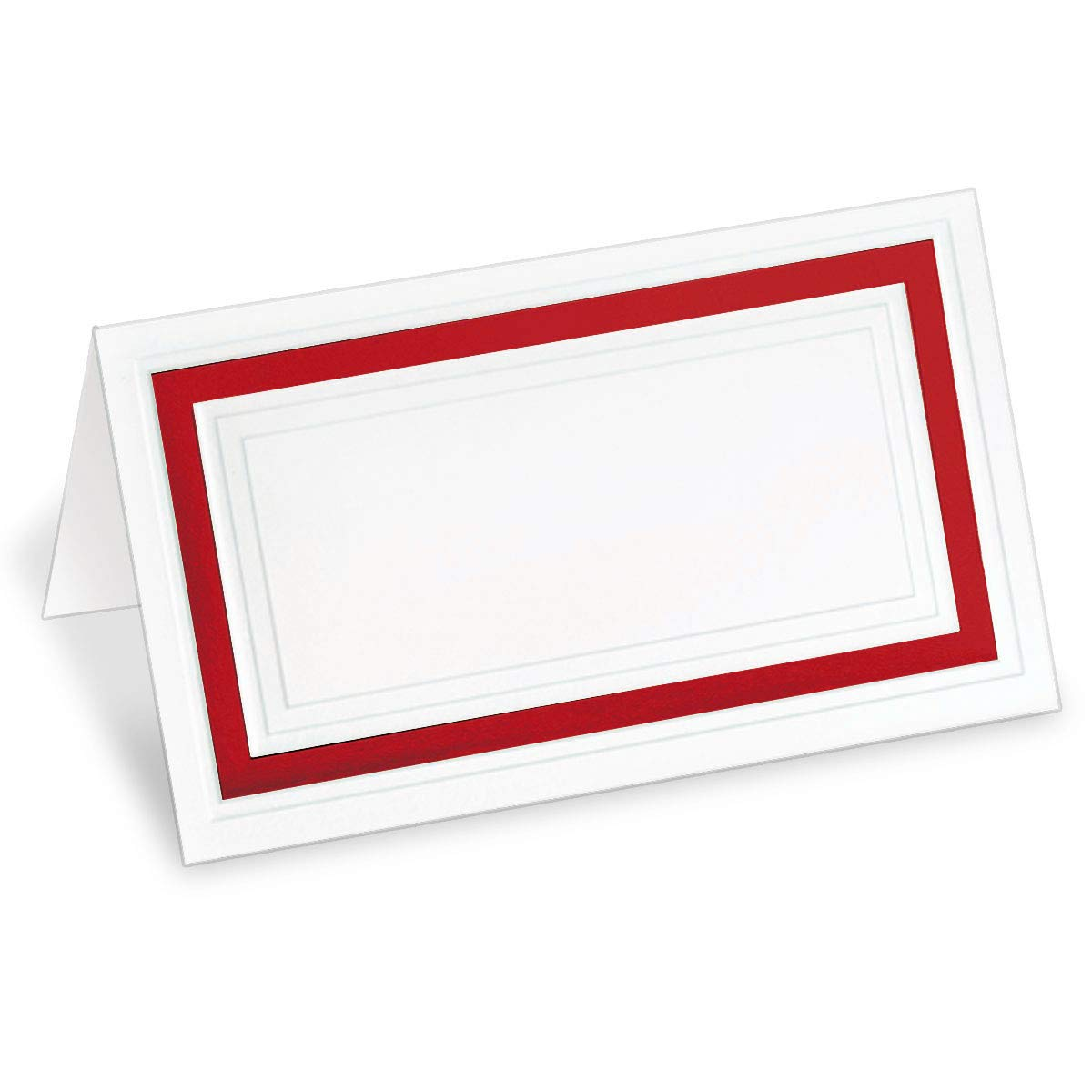 PaperDirect White 38lb Cover Stock Folded Place Cards with Red Foil Border, Micro-Perforated, 2'' x 3 1/2'', 400/Pack, Laser and Inkjet Compatible by PaperDirect