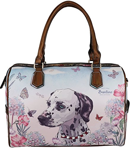 B BRENTANO Vegan Cute Animal Graphic Top Handle Boston Shoulder Bag with Rhinestones