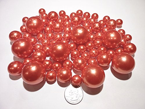 2 Packs Discount Jumbo & Assorted Sizes All Orange Pearls Vase Fillers for Centerpieces - To float the Pearls, Order the Transparent Water Gels (Centerpieces Holiday Floral)