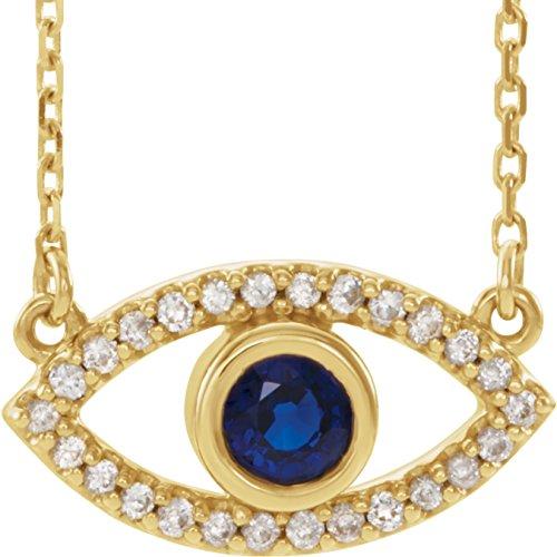 "Bonyak Jewelry Lab-Created Alexandrite 14k White Gold Chatham Created Alexandrite & White Sapphire Evil Eye 18"" Necklace"