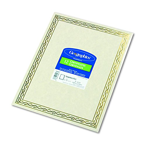 Geographics 44407 Foil Stamped Award Certificates, 8-1/2 x 11, Gold Serpentine Border (Pack of 12) - Foil Geographics