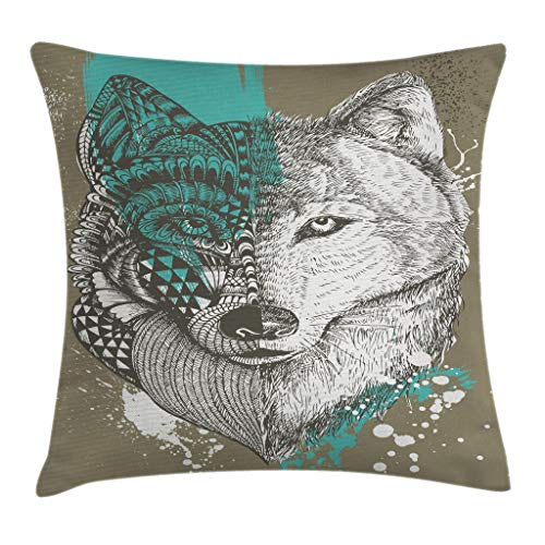 "Ambesonne Wolf Throw Pillow Cushion Cover, Hand Drawn Illustration Zentangle Wolf with Paint Splatters Print, Decorative Square Accent Pillow Case, 16"" X 16"", Jade Green"