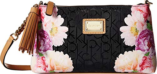 Calvin Klein Women's Key Item Logo Emboss Top Zip Crossbody Black Flower One Size ()