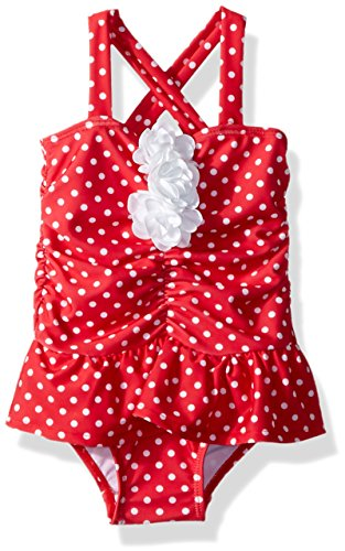 Flap Happy Baby Girls UPF 50+ Vintage Betty Swimsuit, Red Dots, 18m