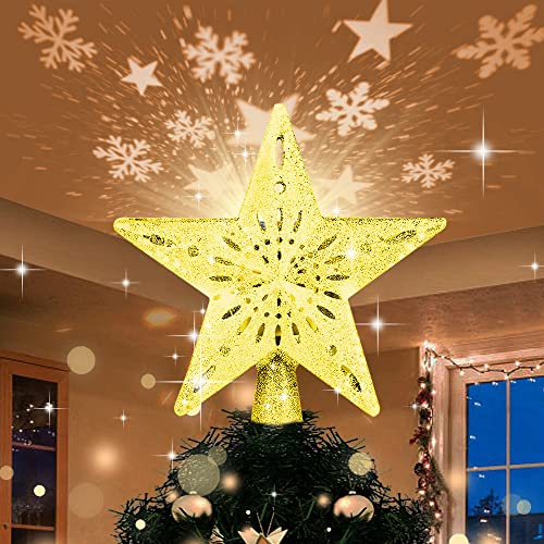 Christmas Tree Topper with LED Light Up Projector, 2 in 1 Gold Star Xmas Tree Topper, USB Powered Revolving Star Snow Projector for Christmas Tree Decorations Home Party Bedroom
