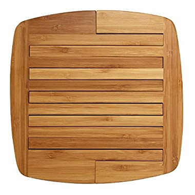 Totally Bamboo Expandable Trivet, Durable and Beautiful Bamboo Protects Tabletops and Counters in Style, 11 3/4  by 8 3/4  open, 8 3/4  by 8 3/4  closed