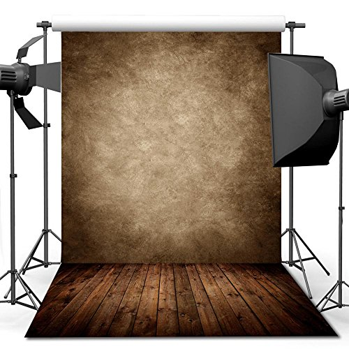 - econious Photo Backdrop, 5x7ft Concrete Wall Wood Floor Backdrop for Studio Props Photo Backdrop