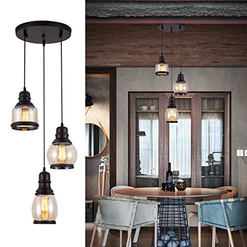 Kitchen Traditional Kitchen Island - Pendant Light with Tawny Glass Jar Shade Matte Black 3-Lights Adjustable Hanging Lighting Fixture, Industrial Antique Traditional Pendant Lamp for Home, Kitchen Island, Dining Room, Foyer, Farmhouse