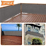 zimo Balcony Privacy Shield UV Protection Opaque Weather-Resistant Balcony Cover (Grey) 3×16.4'